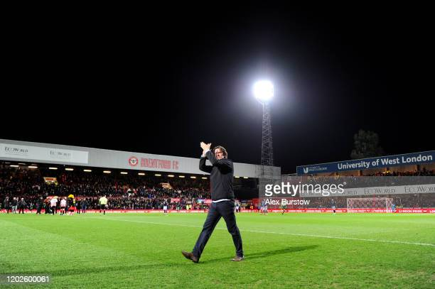 Thomas Frank Head Coach of Brentford applauds fans prior to the Sky Bet Championship match between Brentford FC and Nottingham Forest at Griffin Park...