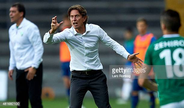Thomas Frank head coach of Brondby IF gives instructions during the UEFA Europa League Qualification match between Brondby IF and PFC Beroe Stara...