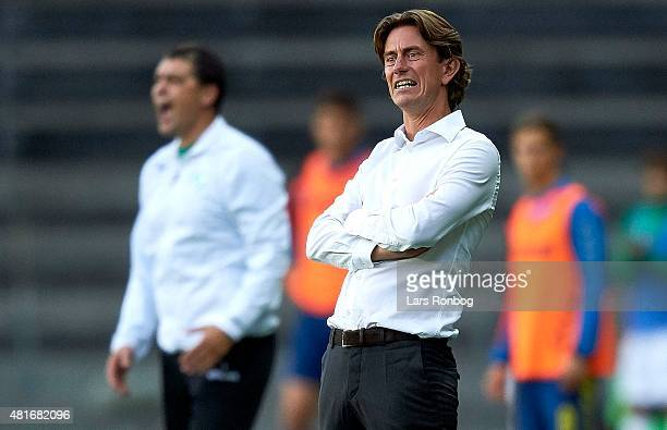 Thomas Frank head coach of Brondby IF looks on during the UEFA Europa League Qualification match between Brondby IF and PFC Beroe Stara Zagora at...