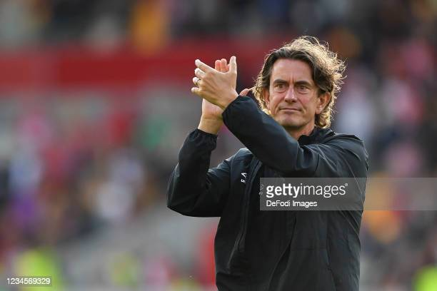 Thomas Frank manager of Brentford applauds during the Pre-season Friendly match between FC Brentford and FC Valencia at Brentford Community Stadium...