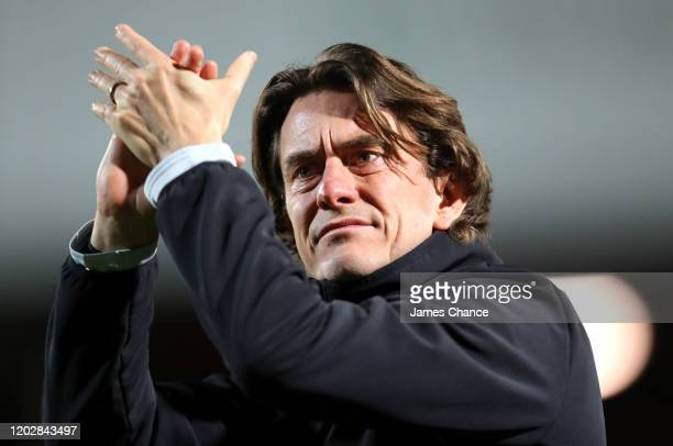 Thomas Frank Manager of Brentford applauds the fans prior to the Sky Bet Championship match between Brentford FC and Nottingham Forest at Griffin...