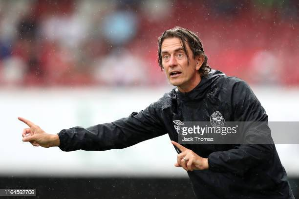 Thomas Frank, Manager of Brentford gives his team instructions during the Pre-Season Friendly match between Brentford and AFC Bournemouth at Griffin...