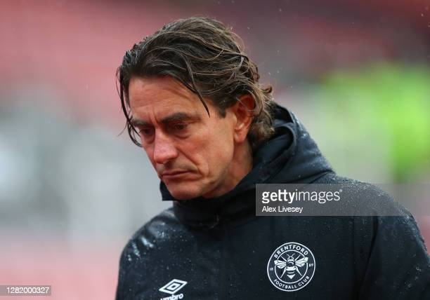 Thomas Frank Manager of Brentford looks dejected following his team's defeat in the Sky Bet Championship match between Stoke City and Brentford at...