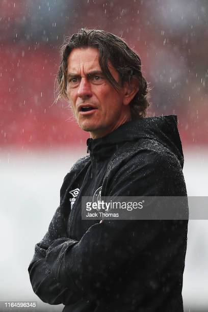 Thomas Frank, Manager of Brentford looks on during the Pre-Season Friendly match between Brentford and AFC Bournemouth at Griffin Park on July 27,...