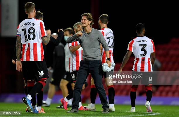 Thomas Frank the Brentford manager after the Sky Bet Championship match between Brentford and West Bromwich Albion at Griffin Park on June 26 2020 in...