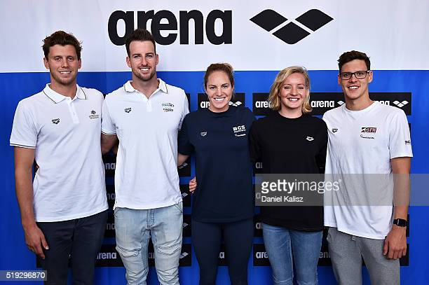 Thomas FraserHolmes James Magnussen Emily Seebohm Jessica Ashwood and Mitch Larkin pose for a photo during the Arena Powerskin CarbonUltra Racing...