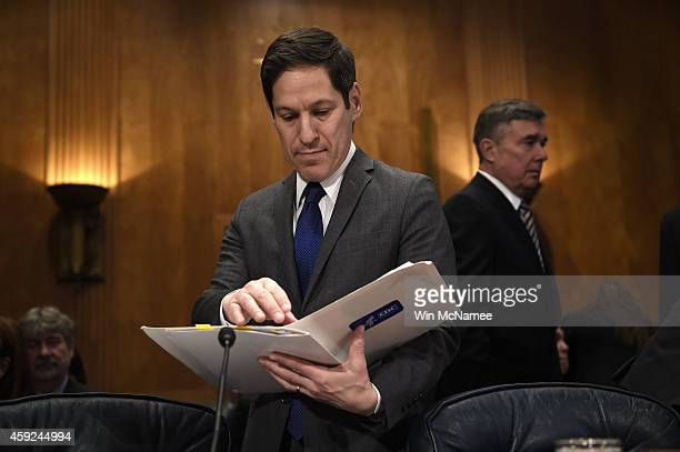 Thomas Frieden Director of the Centers for Disease Control and Prevention reviews his notes before the start of a Senate Homeland Security and...