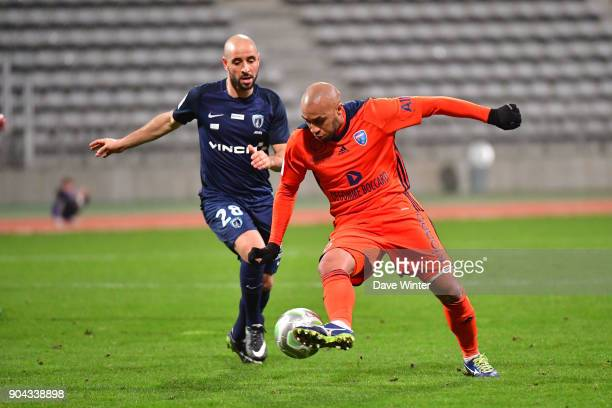 Thomas Gamiette of FBBP 01 and Idriss Ech Chergui of Paris FC during the Ligue 2 match between Paris FC and Bourg en Bresse at Stade Charlety on...