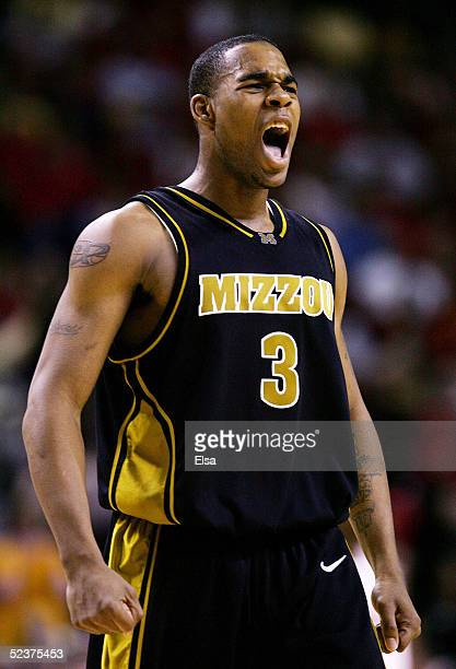 Thomas Gardner of the Missouri Tigers screams in the second half against the Oklahoma Sooners in Day 2 of the Phillips 66 Big 12 Men's Basketball...