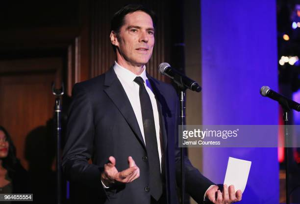 Thomas Gibson speaks onstage during the Wounded Warrior Project Courage Awards Benefit Dinner on May 31 2018 at Gotham Hall in New York City