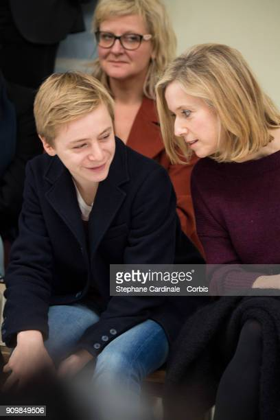 Thomas Gioria and Lea Drucker attends the Bonpoint Winter 2018 show as part of Paris Fashion Week January 24 2018 in Paris France