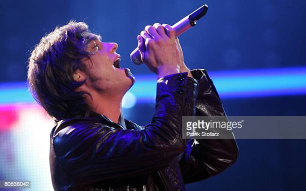 Thomas Godoj performs during the singer qualifying contest DSDS Deutschland sucht den Superstar mottoshow on April 5 2008 at the Coloneum in Cologne...