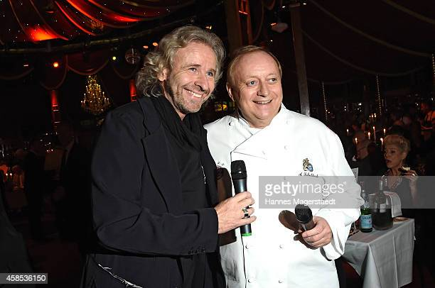 Thomas Gottschalk and Alfons Schuhbeck attend the Premiere Schuhbecks Teatro on November 6 2014 in Munich Germany