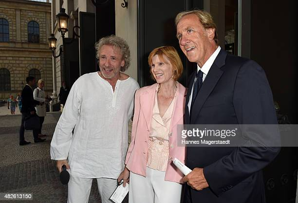 Thomas Gottschalk and his brother Christoph Gottschalk with his wife Regina Gottschalk attend 'Oper fuer Alle' with the premiere of Manon Lescaut at...