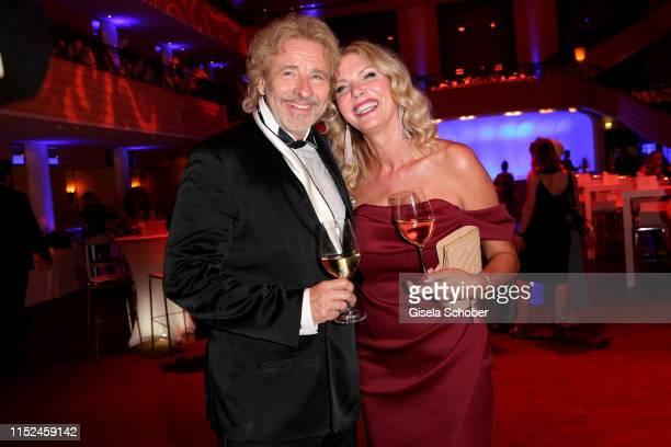 Thomas Gottschalk and his girlfriend Karina Mross during the opening night of the Munich Film Festival 2019 Party at Hotel Bayerischer Hof on June...