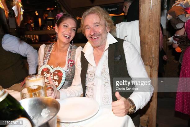 Thomas Gottschalk and his girlfriend Karina Mross with a heart during the Oktoberfest 2019 at Kaeferschaenke tent Theresienwiese on September 23,...
