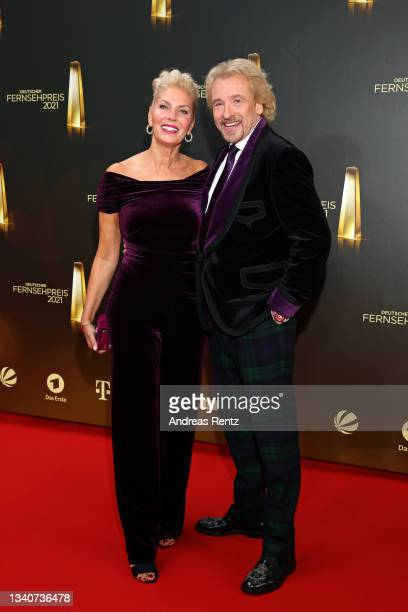 Thomas Gottschalk and his partner Karina Mross attend the German Television Award at Tanzbrunnen on September 16, 2021 in Cologne, Germany.