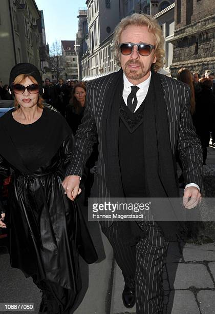 Thomas Gottschalk and his wife Thea attend the memorial service for Bernd Eichinger at the St. Michael Kirche on February 07, 2011 in Munich,...