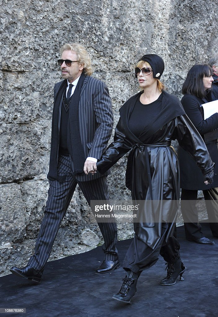 Thomas Gottschalk and his wife Thea attends the memorial service for Bernd Eichinger at the St. Michael Kirche on February 07, 2011 in Munich, Germany. Producer Bernd Eichinger died of a heart attack in Los Angeles on January 24. Leading the Constantin Film he produced films like 'Perfume', 'Christiane F.', 'Smillas Sense of Snow' or 'Der Untergang' recieving multiple awards.