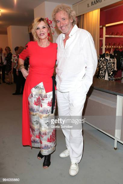 Thomas Gottschalk and his wife Thea Gottschalk during the 'Oper fuer alle - Parsifal' as part of the Munich Opera Festival at Nationaltheater on July...