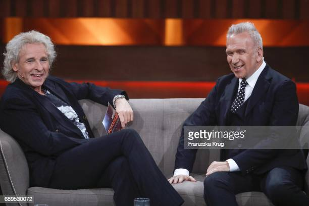 Thomas Gottschalk and Jean Paul Gaultier during 'Mensch Gottschalk Das bewegt Deutschland' TV Live Show from Berlin at Studio Berlin Adlershof on May...