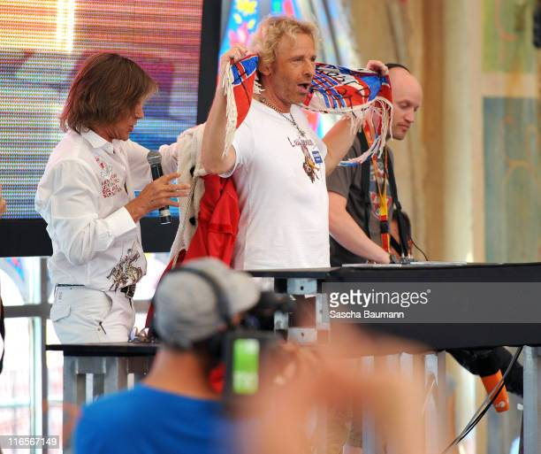 Thomas Gottschalk and Juergen Drews attend the discotheque Megapark on June 16 2011 in Palma de Mallorca Spain