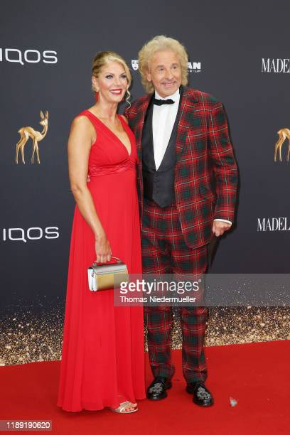 Thomas Gottschalk and Karina Mroß attend the 71st Bambi Awards at Festspielhaus BadenBaden on November 21 2019 in BadenBaden Germany