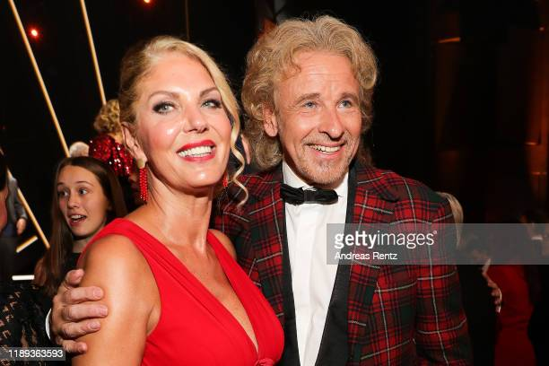Thomas Gottschalk and Karina Mroß pose during the 71st Bambi Awards at Festspielhaus Baden-Baden on November 21, 2019 in Baden-Baden, Germany. During...