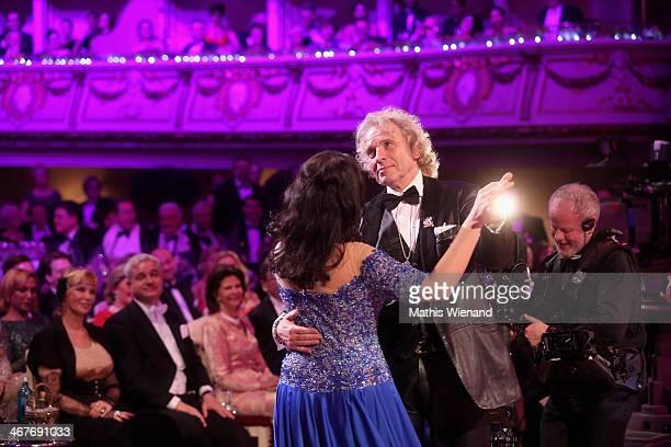 Thomas Gottschalk and Sonya Yoncheva attend the Semper Opera Ball at Semperoper on February 7 2014 in Dresden Germany