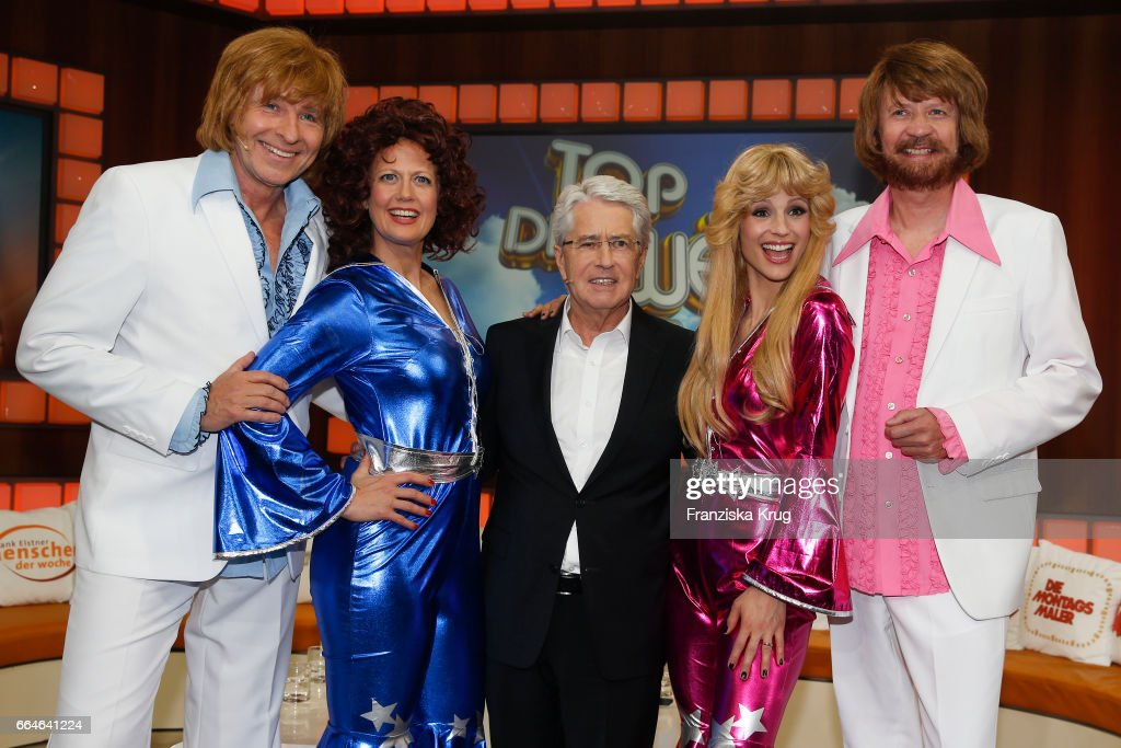 Thomas Gottschalk, Barbara Schoeneberger, Frank Elstner, Michelle Hunziker and Guenther Jauch during the photo call for TV Show 'Top, die Wette gilt! 75 Jahre Frank Elstner' in Berlin at on April 4, 2017 in Berlin, Germany.