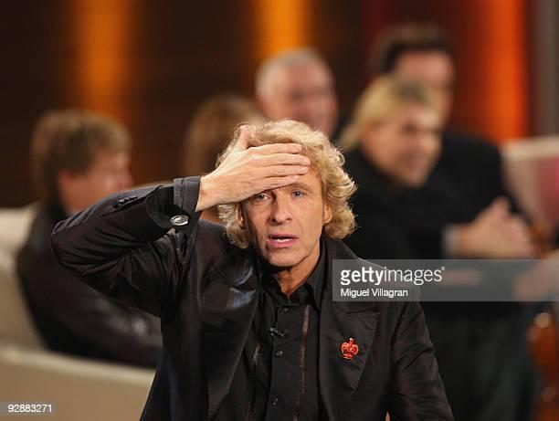 Thomas Gottschalk gestures during the 'Wetten dass...?' show at the Volkswagenhalle on November 7, 2009 in Braunschweig, Germany.