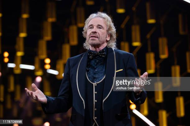 Thomas Gottschalk holds a laudatio during the 23rd annual German Comedy Awards at Studio in Köln Mühlheim on October 02, 2019 in Cologne, Germany.