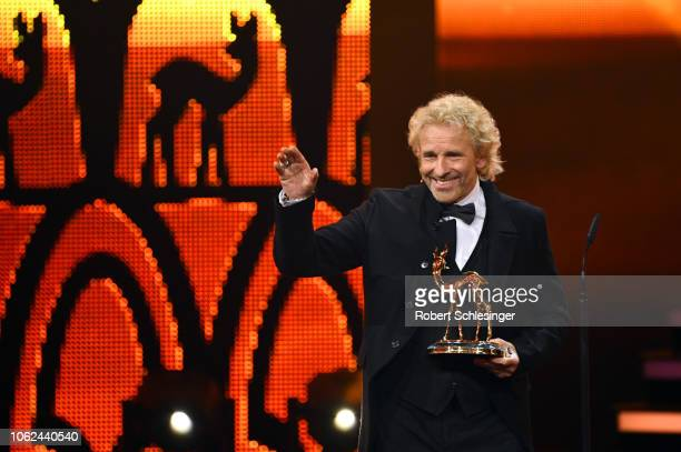 Thomas Gottschalk on stage with his award during the 70th Bambi Awards show at Stage Theater on November 16 2018 in Berlin Germany