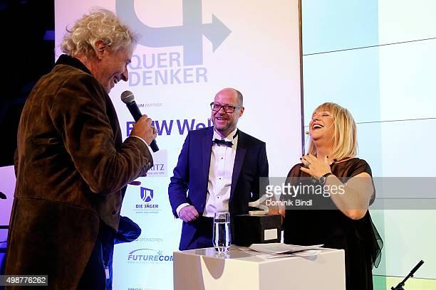 Thomas Gottschalk Otmar Ehrl and Patricia Riekel attend the Querdenker Award 2015 at BMW World on November 25 2015 in Munich Germany