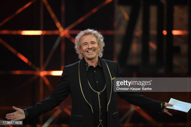 """Thomas Gottschalk poses during the taping of the show """"50 Jahre Hitparade"""" on April 12, 2019 in Offenburg, Germany. The show will air on ZDF on April..."""