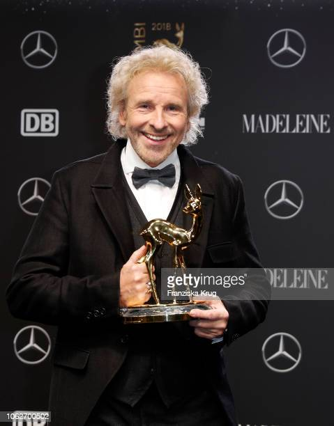 Thomas Gottschalk poses with an award during the 70th Bambi Awards winners board at Stage Theater on November 16, 2018 in Berlin, Germany.