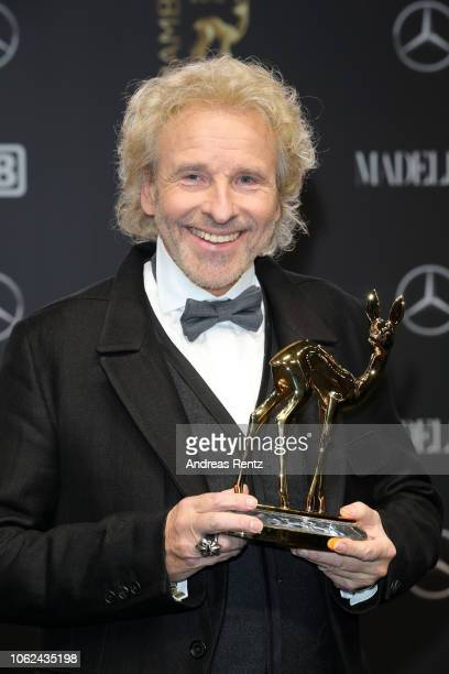 Thomas Gottschalk poses with his award during the 70th Bambi Awards winners board at Stage Theater on November 16 2018 in Berlin Germany