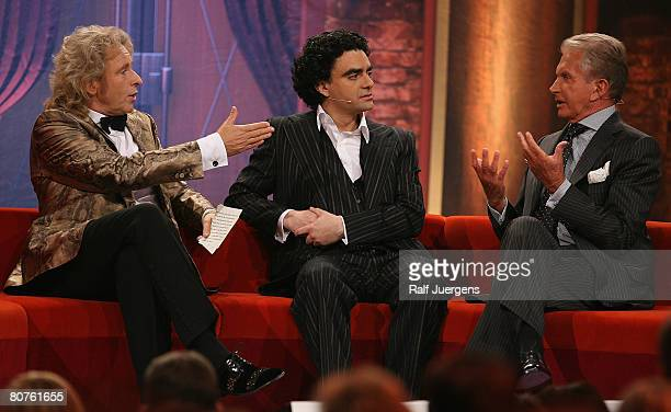 Thomas Gottschalk Rolando Villazon and George Hamilton attend the final of singer qualifying contest 'MusicalShowstar 2008' on April 18 2008 at the...