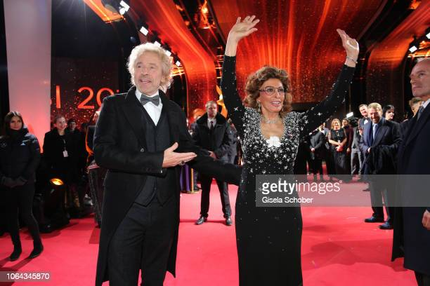 Thomas Gottschalk , Sophia Loren during the Bambi Awards 2018 Arrivals at Stage Theater on November 16, 2018 in Berlin, Germany.