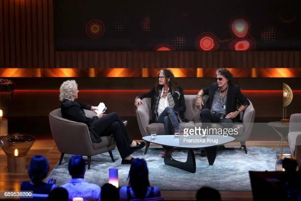 Thomas Gottschalk Steven Tyler and Joe Perry during 'Mensch Gottschalk Das bewegt Deutschland' TV Live Show from Berlin at Studio Berlin Adlershof on...