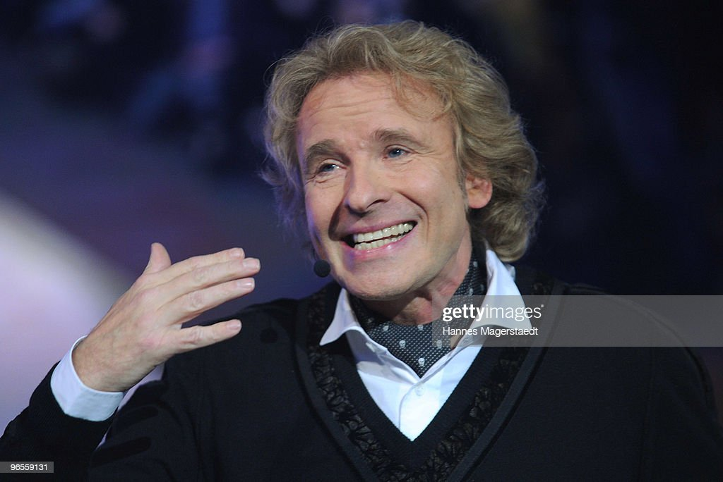 Thomas Gottschalk talks during the Touareg World Premiere at the Postpalast on February 10, 2010 in Munich, Germany.