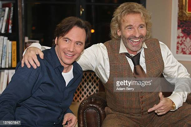 Thomas Gottschalk the German television host best known for hosting the program 'Wetten dass' poses with his first guest German actor Michael Bully...