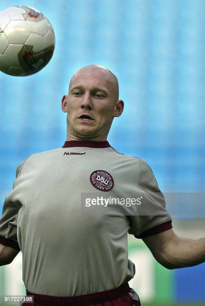 Thomas Gravesen of Denmark chests the ball during a traininig session at the Ulsan Munsu football stadium, 31 May 2002 in Ulsan, where Denmark open...