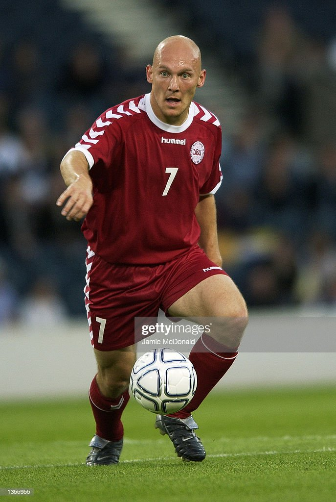 Thomas Gravesen of Denmark in action during the International Friendly between Scotland and Denmark at Hampden Park in Glasgow, Scotland on August 21, 2002.