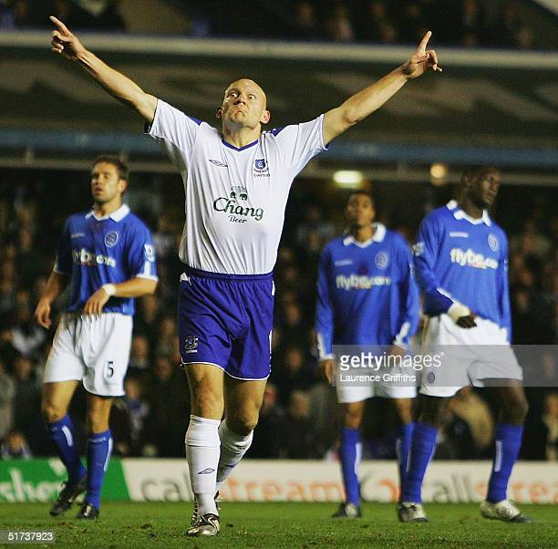 Thomas Gravesen of Everton celebrates after his goal from the penalty spot during the FA Barclays Premiership match between Birmingham City and...