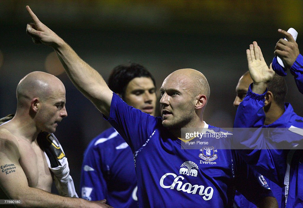 Thomas Gravesen of Everton celebrates after the Carling Cup Fourth Round match between Luton Town and Everton at Kenilworth Road on October 31, 2007 in Luton, United Kingdom.