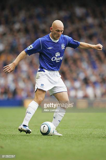 Thomas Gravesen of Everton in action during the Barclays Premiership match between Everton and West Bromwich Albion at Goodison Park on August 28...