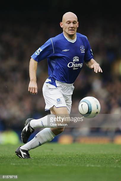 Thomas Gravesen of Everton in action during the Barclays Premiership match between Everton and Southampton at Goodison Park on October 16, 2004 in...
