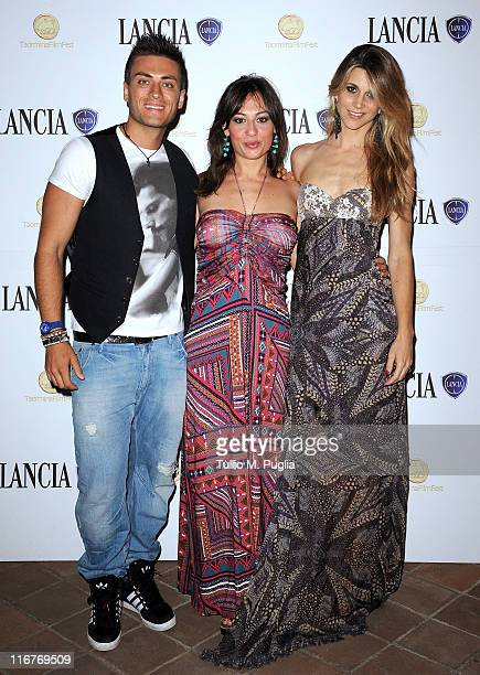 Thomas Grazioso Costanza D'Ardia and Nicoletta Romanoff attend a cocktail party hosted by the Lancia Cafe during the 57th Taormina Film Fest on June...