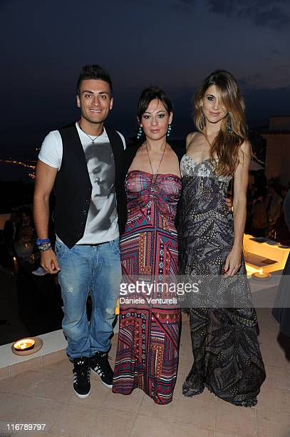 Thomas Grazioso Costanza D'Ardia and Nicoletta Romanoff attend the Celebrities At The Lancia Cafe during the 57th Taormina Film Fest 2011 on June 17...